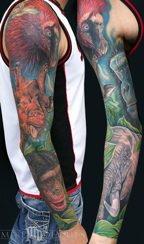 Animal Sleeve By Mike Devries Tattoos
