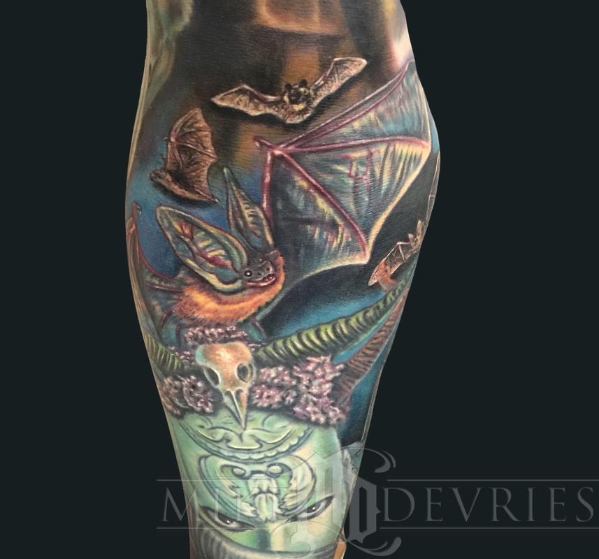 Mike devries tattoos animal bat tattoo for Bat sleeve tattoo