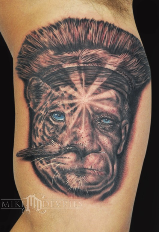 shaman and jaguar by mike devries tattoos