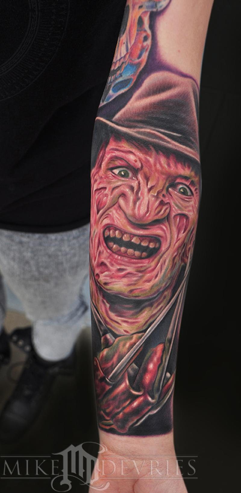 mike devries   tattoos   movie   freddy krueger