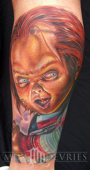 Realistic Coloring Of Chucky: Mike DeVries : Tattoos : Evil : Chucky Tattoo