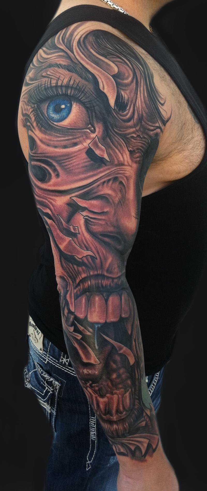 Mike devries tattoos black and gray face sleeve for Forearm tattoo sleeves