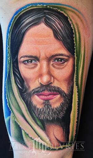 Mike DeVries : Tattoos : Color : Jesus Tattoo