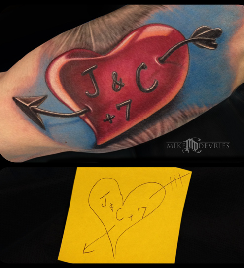 Custom heart tattoo by mike devries tattoonow for Custom tattoo armrest for sale
