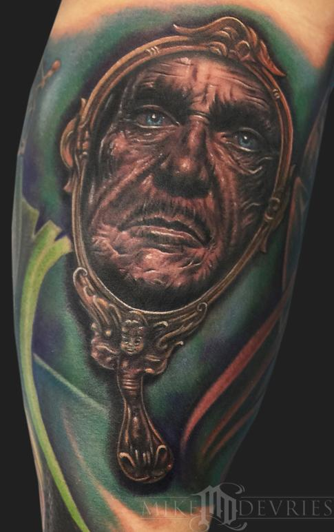 Vincent price tattoo by mike devries tattoonow for Custom tattoo armrest for sale