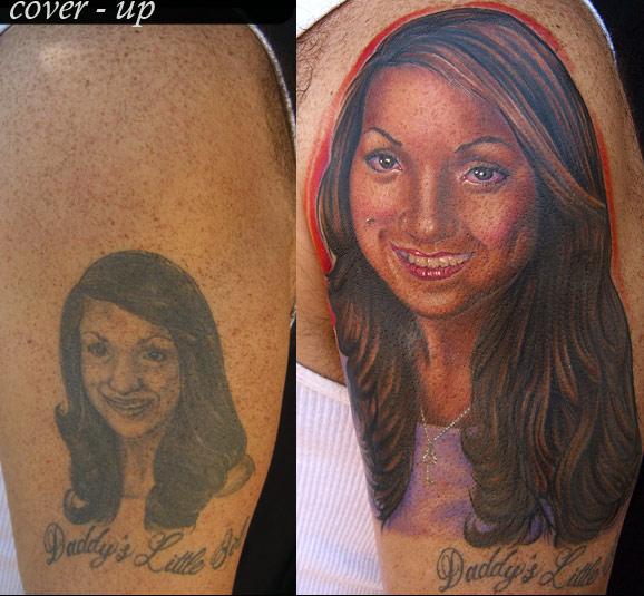 Mike devries tattoos portrait portrait cover up tattoo for Kat von d cover up tattoo