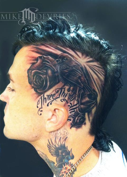 Mike devries tattoos flower rose song bird and roses for Yelawolf tattoo artist